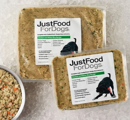 a new shipment of just food for dogs