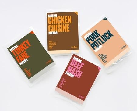 four packages of nom nom